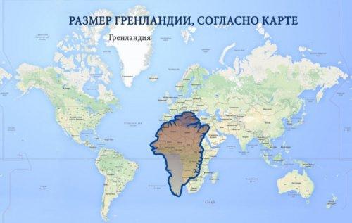 Искажённые размеры географических объектов на обычных картах (4 фото)